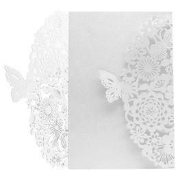 Wholesale Butterfly Envelopes - 10Pcs Set Delicate Carved Butterflies Romantic Wedding Party Invitation Card Envelope Invitations for Wedding