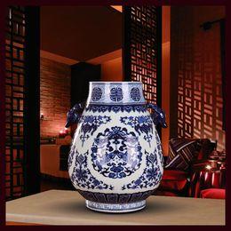 Wholesale Porcelain Blue Ceramic Vases - China ceramics Binaural Blue and white porcelain To ground decorate vase statue