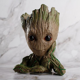 Wholesale tree pots wholesale - Galaxy Groot Flower Pot Pen Boxes Tree man Fairy Garden Anime Movie Collection Action Figure Model