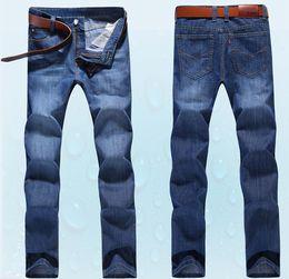 Wholesale men jeans size 38 - Men's Simple Summer Lightweight Jeans Men's Large Size Fashion Casual Solid Classic Straight Jeans Size 28-38