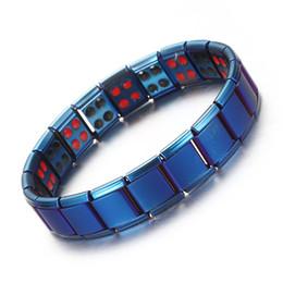 2019 синие магниты Синий розовое золото черный 2 строки магнитный Магнит браслеты из нержавеющей стали эластичный био Nagetive Ион энергии браслет для женщин и мужчин скидка синие магниты