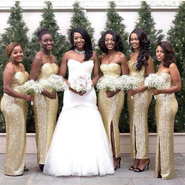 8314458014 Golden Strapless Mermaid Bridesmaid Dresses Plus Size 2019 Side Split Open  Back Sequined Wedding Party Dress Bridal Dress Gowns Africa Girls