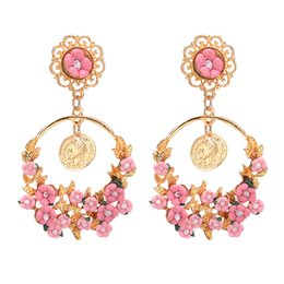 Wholesale ceramic flower jewelry rose - H:HYDE New fashion brand vintage drop earring jewelry wind rose flower branch earrings for women Ceramic flowers long earrings