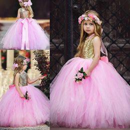 Wholesale Cute Halloween Customs - Cute Sequins Tulle Jewel Girls Pageant Dress Floor Length 2018 Girl Communion Dress Kids Formal Wear Flower Girls Dresses for Wedding