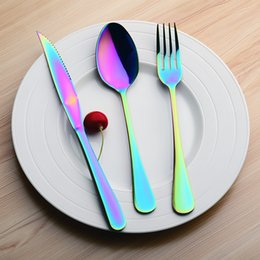 fork knife spoon high quality Promo Codes - Rainbow Color Dinnerware Kit Stainless Steel Knife Fork Spoon Set With Long Handle Kitchen Tool High Quality 10 5wl X