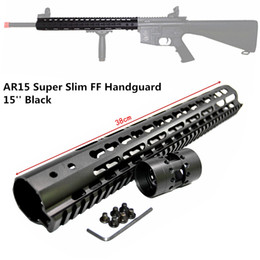 Wholesale m4 m16 handguard - hunterking Tactical 15 inch Free Float Handguard Mount Bracket with Detachable Rail BLACK Barrel Nut For AR-15 M4 M16