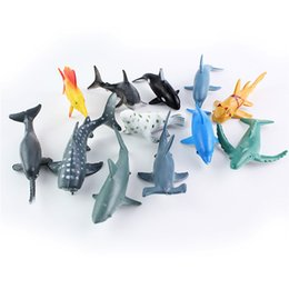 tortues d'ornements Promotion Nouveau manchot modèle animal marin, grand requin blanc, tortue, modèle baleine, 24 petits ornements