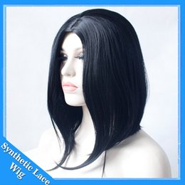 Wholesale Black Heat Resistant Bob Wig - Short Bob Hair Wigs 12inch Straight Middle Part Wigs Synthetic Wigs For Black Women Natural Looking Heat Resistant Lace Wig