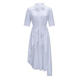 Blusas para escritório on-line-Sisjuly Cinto Meia Manga Assimétrica Longo Camisa Branca Mulheres Blusa Maxi Turn Down Collar Sólida Outono Escritório Senhoras Camisas Casuais