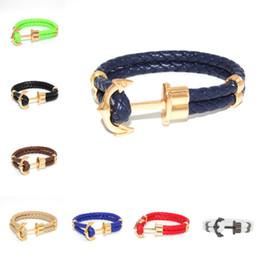 Wholesale Boat Anchor Bracelet - Fashion Alloy Boat Anchor Chain Bracelet Woven Leather Bracelet Gold Anchor Charm Fastener Bracelet Free Shipping G282S