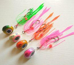 Wholesale Head Fishing - 4pcs 135g 100g 80g 60g 40g Slider Snapper Sea Bream Jig Head with Skirt Lead Jig Lead Fish Jigging Lure Metal Fishing Lure
