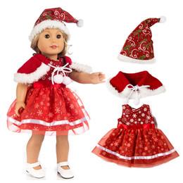 amerikanische zoll Rabatt 18 Zoll American Girl Puppe Weihnachten Kleidung Kleid für Puppen Kinder Geschenk Puppe Weihnachten Outfit Zubehör