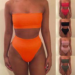Biquíni de banho de laranja on-line-S-XL 2019 Mulheres Bandage Bikini Set Push-up Maiô Banhos Swimwear Terno 5 Cores Verde Laranja Vermelho Preto Rosa Mulheres Maiô