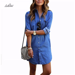 Wholesale Cheap Long Blouses - Cheap Women Denim Shirt Chemise 2017 Autumn Femme Long Style Jeans Blouse Shirt Blue Long Sleeve Blusas Tops Camisa S-2XL