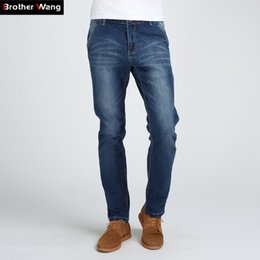 Wholesale Quality Tooling - Brother Wang Men's Straight Jeans Fashion Big Pockets Tooling Jeans High-quality Stretch Large Size Casual 44 46 48