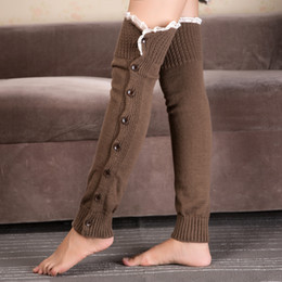 Wholesale trendy knee high boots - Wholesale-Women Trendy Knitted Boot Lace Leg Warmers Crochet Knit Toppers Cuffs Knee High Long Legging VS082