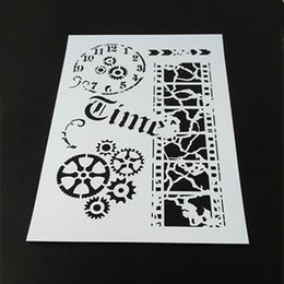 Vintage Time,Film,Gear Clock -wholesale laser cut stencils printing designs Masking template For Scrapbooking album drawing and more