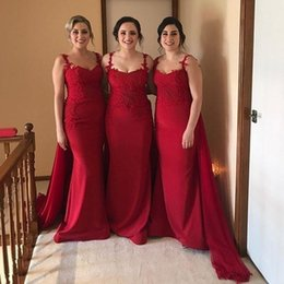 0dbd1f8678e1 vestiti da damigella d onore lunghi rossi della cinghia Sconti 2018 Country  Red Mermaid abiti