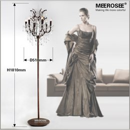 Wholesale floor reading lamps - Popular Vintage Style Crystal Floor Lamp Rust Red Color Stand Lamp with 6 Lights for Reading Room Hotel Living Room LD003