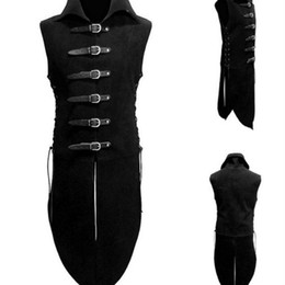 movie vest Coupons - Adult Men Middle Age Renaissance Knight Solider Armor Costume Vest Medieval Landlord High Neck Top Shirt Leather Button Clothing