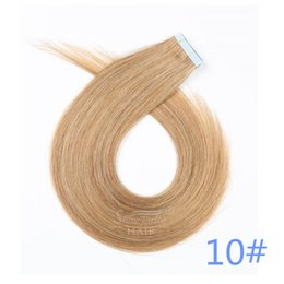 Wholesale real tapes - Good Quality tape in hair extensions UK 100% virgin real hair 10# straight 22inch 50g skin weft tape in hair extensions for sale