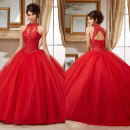 vestidos de quinceañera chica moderna Rebajas Sheer Crew Neck Sweet 16 Masquerad Red Beaded Quinceanera Dresses Lace Appliqued Ball Balles Tul Debutante Ragazza Dress