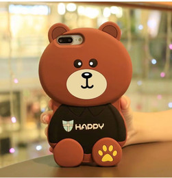 2019 cassa del telefono orso marrone YunRT 3D simpatico cartone animato Happy brown bear custodia in silicone morbido per iphone 5 5 s se 6 6s 7 8 plus x Anti-knock protettiva con cordino