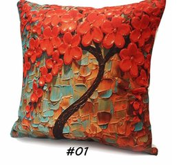 124a030f695 Wholesale- Floral Pillow Case Cushion Flower Tree Design Cover Cotton Linen Flower  Pillowcase Waist Back Throw Home Colorful Home textile cushion cover ...
