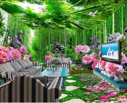 Wholesale Bamboo Floor Kitchen - 3d pvc flooring waterproof Fresh bamboo peony three-dimensional whole house themed space background wall