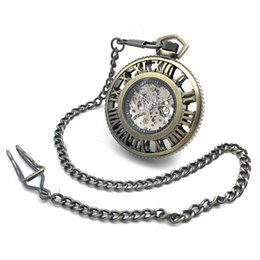 Wholesale Watch Numbers Face - CAIFU Brand Skeleton Steampunk Big Dial Hand Wind Mechanical Pocket Watch Roman Number Dial Bronze Tone Case Open Face Watch New