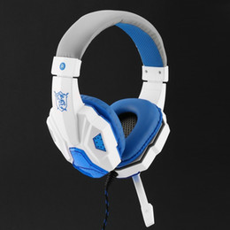 Micrófono para gamers online-SY830MV Deep Bass Game Headphone Estéreo Over-Ear Gaming Headset Headband Auricular con MIC Light para computadora PC Gamer