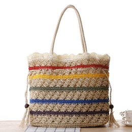 Wholesale Large Woven Straw Bag - Ethnic wind pumping with straw bag large-capacity shoulder woven bag women's travel vacation beach leisure bag