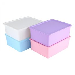 Wholesale Bra Chinese - Home Organization Boxes Bins Home Storage Boxes For Underwear Socks Ties Bra Closet Divider Plastic Candy Color Storage Box With