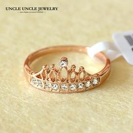 Wholesale Crown Ladies Rings - Rose Gold Color Rhinestones Retro Princess Crown Design Lady Finger Ring 18krgp