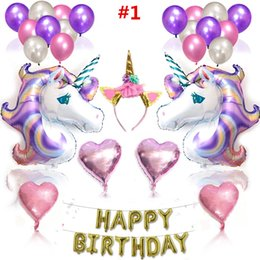 Wholesale latex horns - Cartoon Unicorn Birthday Party Balloon Unicorn Horns Hair Sticks Heart Shaped Balls Sets Festival Decorations Supplies Free DHL A877