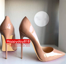 nude dresses Promo Codes - Free shipping fee new style sexy Lady Nude patent leather point toe high heels shoes boots pumps 120mm 100mm genuine leather