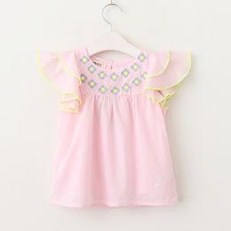 Wholesale summer korean blouse long sleeve - Everweekend Kids Girls Print Flowers White Pink Color Children Blouse Korean Fly Sleeves Tops Tee Clothing