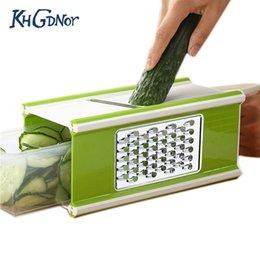 2019 conjunto de cortador de vegetais plásticos Plástico 6 -Em -1 Grater Box Multifuncional Frutas e Vegetais Cortadores Shredder Slicer Peeler Panelas Conjunto com Caixa de Recipiente conjunto de cortador de vegetais plásticos barato