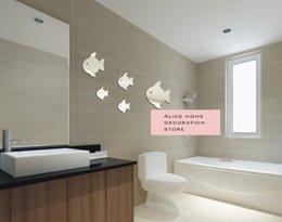 Wholesale 3d Fish Wall Stickers - MEYA Acrylic 5pcs fish wall mirror sticker, 3D mirror sticker&murals pvc vinyle decal