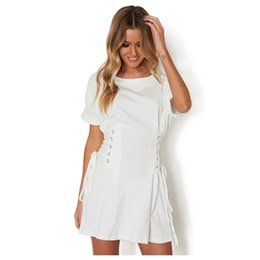 Wholesale Sexy Cloths Night - Women Casual Cloth Summer Fake Bandage Solid Dress Sexy Slim Corset Mini Pleated T shirt Dresses