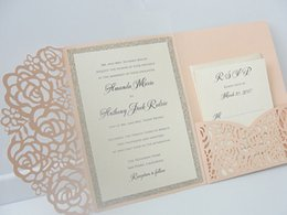 Wholesale wholesale invites - Light Pink Wedding Invitations Silver Glitter Graduation Evening Party Invites Free Black Printing Free Shipping 50pcs