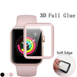 Argentina Cubierta suave protectora de la pantalla de cristal templado del pegamento completo 3D suave para Apple Watch iWatch 1/2/3 38mm 42mm con el paquete al por menor Suministro