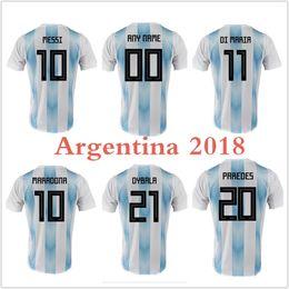 Wholesale Make White Wine - Men Women Argentina home 2018 World Cup Thailand Soccer Jersey ICARDI Maradona DYBALA Messi Aguero Di Maria Custom made football shirts