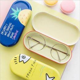 Wholesale Kawaii Jewelry - Kawaii Iron Tin Boxes Glasses Case Cartoon Storage Box Organizer For Jewelry Eyewear Spectacles Container Cover YYA975