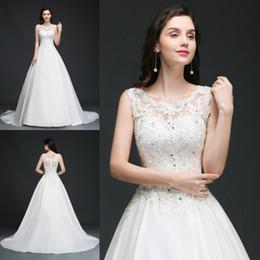 0198da814c8a abito bianco gioiello lungo Sconti Designer Bianco Avorio Abiti da sposa  2019 Sheer Jewel collo Appliques