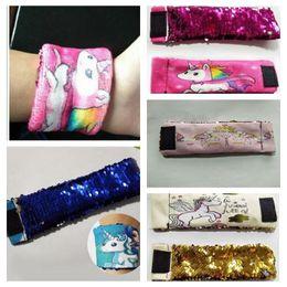 Wholesale Wrap Style Bracelets - Magic Unicorn Reversible Sequins Mermaid Bracelet Cute Sequin Wrap Bracelet Wristband Cuff Warp Braclets Wrist Band 7 Styles OOA3904