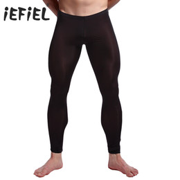 Wholesale Sexy See Through Mens Underwear - iEFiEL 5 Colors Sexy Men See-through Pants Tights Leggings Trousers Long Johns Underwear U convex pocket mens wrestling singlet