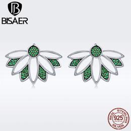 lotus flower jewelry 2018 - wholesale Hot Sale 925 Sterling Silver Lotus Flower Petal Tree Leaves Stud Earrings for Women Authentic Silver Jewelry S925 GXE334