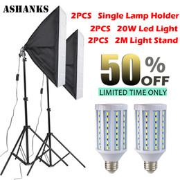 2019 комплект подставки для софтбокса 2PCS LED Bulb Photography Lights Flash Kit reflective Material Softbox 2M Light Tripod Stand Single Lamp Holder For E27 Bulbs дешево комплект подставки для софтбокса