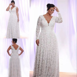 Wholesale V Neck Full Mermaid Wedding Dress - Cheap Full Lace Plus Size Wedding Dresses With Removable Long Sleeves V Neck Bridal Gowns Floor Length A-Line Wedding Gown Elegant Long Gown
